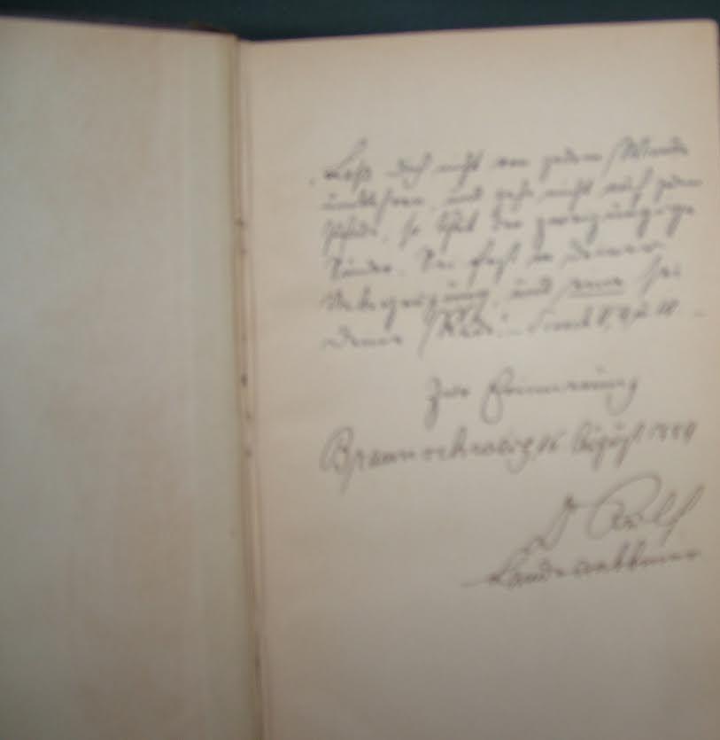 """ההקדשה שכתב רב קהילתי בבראושווייג (גרמניה) אבי סבא רבא שלי – ד""""ר גוטמן רילף"""
